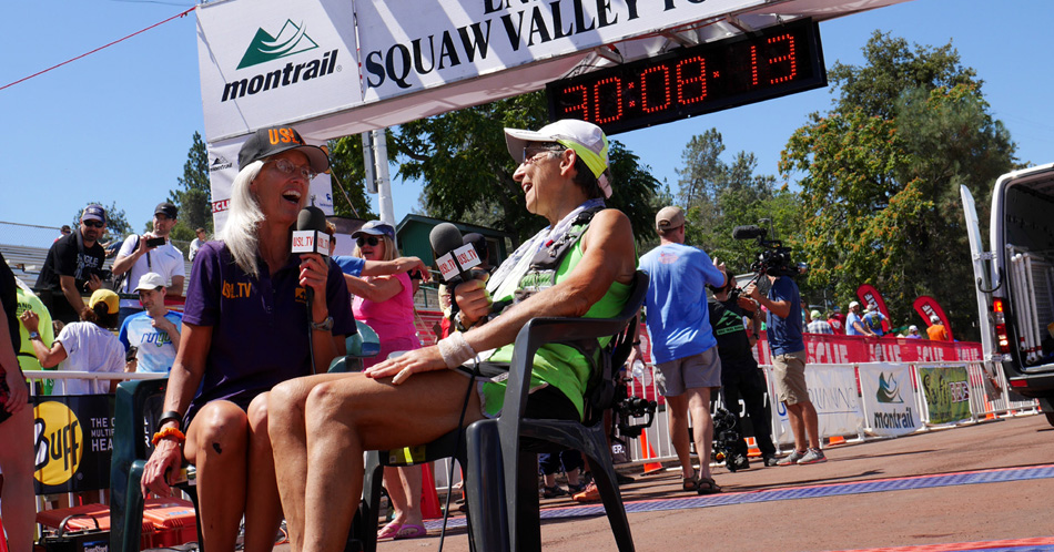 """Erin Beck interviewing Gunhild Swanson at the finish of the Western States 100 Mile Endurance Run 2015"""